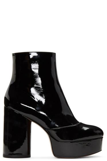 Marc Jacobs - ブラック パテント アンバー プラットフォーム ブーツ