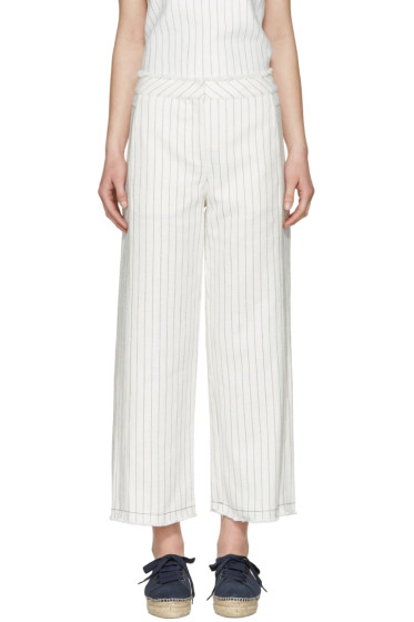T by Alexander Wang - White High-Waisted Cotton Burlap Trousers