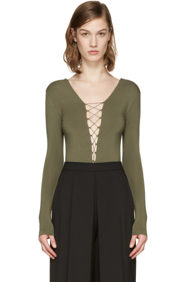 T by Alexander Wang - Green Lace-Up Bodysuit