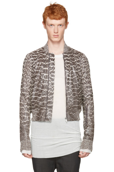Rick Owens - Grey Glitter Flight Jacket