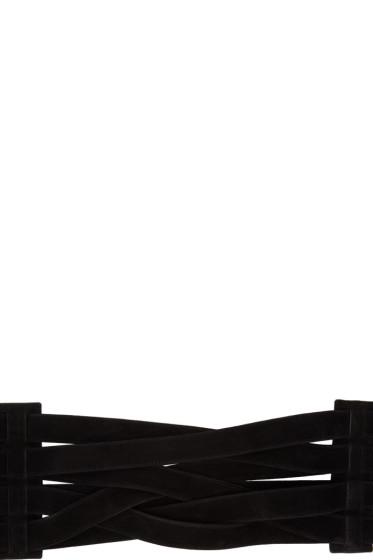 Balmain - Black Wide Suede Belt