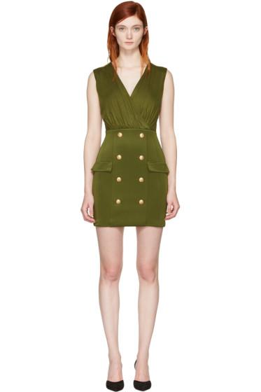 Balmain - Green Gold Buttons Dress