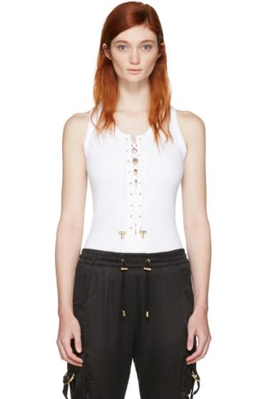 Balmain - White Lace-Up Bodysuit