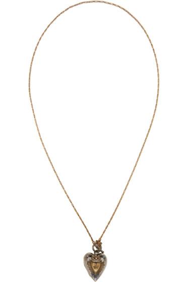 Alexander McQueen - Silver & Gold Heart Locket Necklace