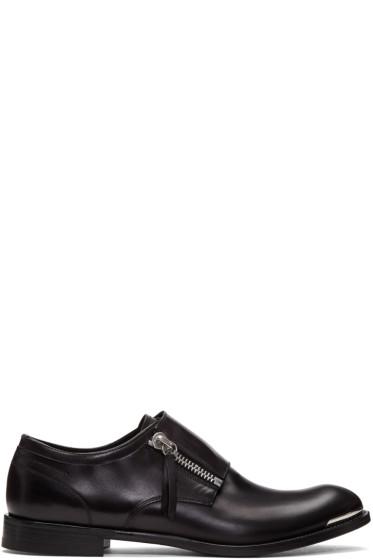 Alexander McQueen - Black Leather Zip Monkstraps