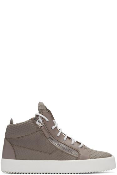 Giuseppe Zanotti - Grey Python-Embossed London High-Top Sneakers