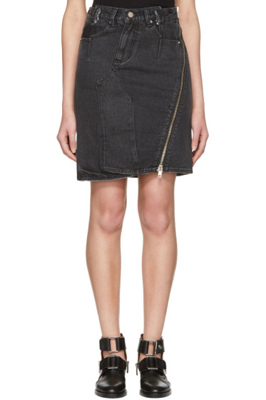 3.1 Phillip Lim - Black Asymmetric Zip Denim Miniskirt