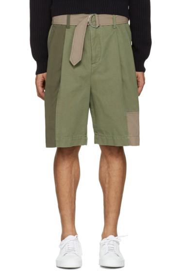 3.1 Phillip Lim - Green Patchwork Oversized Shorts