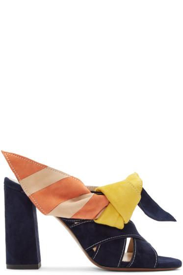 Chloé - Navy & Multicolor Nellie Mules