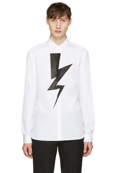 Neil Barrett - White Single Thunderbolt Shirt