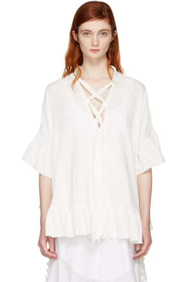 See by Chloé - White Cotton Ruffle Blouse