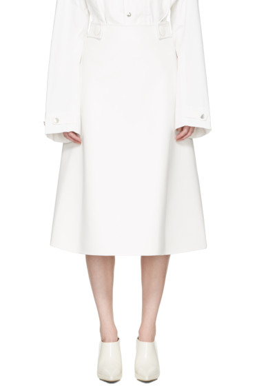 Marni - White Faux-Leather Skirt