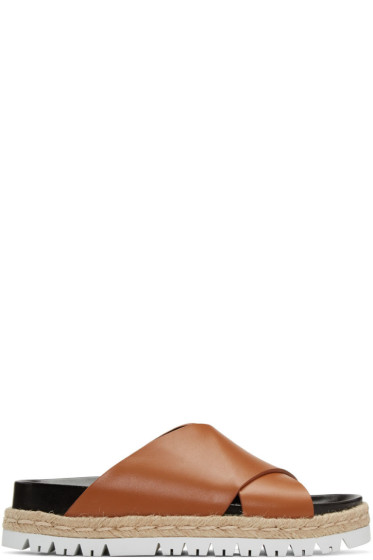 Marni - Brown Criss-Cross Slide Sandals