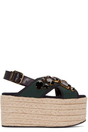 Marni - Green Criss-Cross Platform Sandals