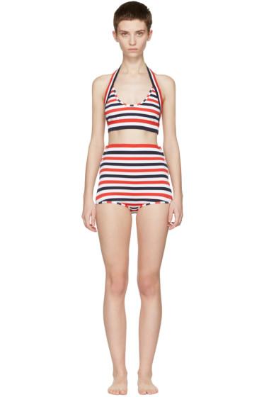 Thom Browne - Tricolor Striped Halter Bikini