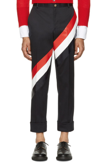 Thom Browne - Navy Diagonal Stripe Unconstructed Chinos