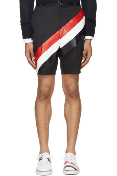 Thom Browne - Navy Diagonal Stripe Unconstructed Chino Shorts