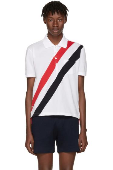 Thom Browne - White Stripes Pocket Polo