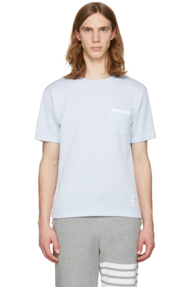 Thom Browne - Blue Striped Pocket T-Shirt