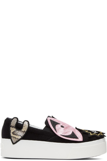 Kenzo - Black K-Patch Platform Slip-On Sneakers
