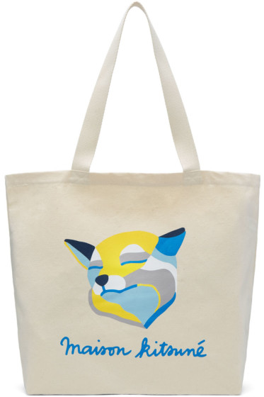 Maison Kitsuné - Ecru Inès Longevial Edition Fox Tote