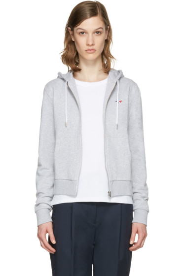 Maison Kitsuné - Grey Fox Patch Zip-Up Hoodie