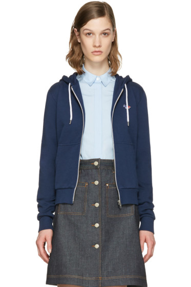 Maison Kitsuné - Blue Fox Patch Zip-Up Hoodie