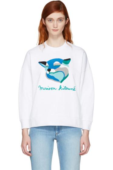 Maison Kitsuné - White Inès Longevial Edition Fox Sweatshirt