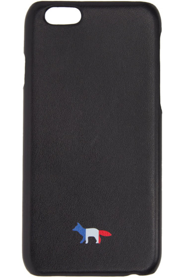 Maison Kitsuné - Black Leather Tricolor Fox iPhone 6 Case