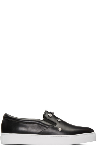 Versus - Black Studded Lion Slip-On Sneakers