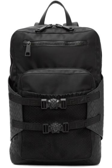 Versace - ブラック ナイロン ジップ バックパック