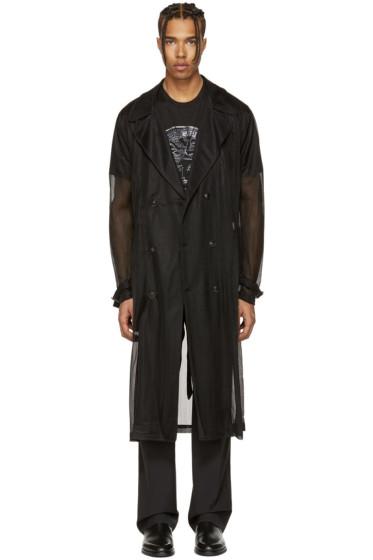 Versace - ブラック ニット トレンチ コート