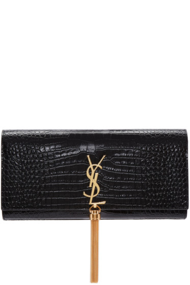 Saint Laurent - Black Croc-Embossed Kate Tassel Clutch
