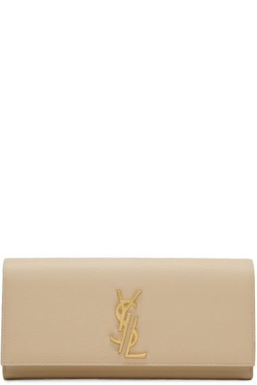 Saint Laurent - Beige Deconstructed Monogram Kate Clutch