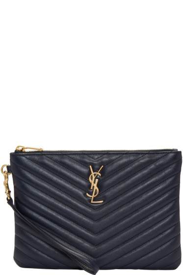 Saint Laurent - Navy Quilted Monogram Pouch
