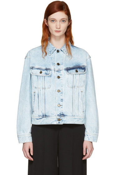 Saint Laurent - Blouson en denim surdimensionné bleu Acid Wash