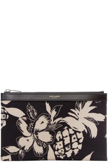 Saint Laurent - Black Mini Hibiscus Pouch