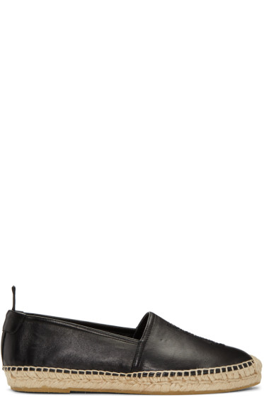 Saint Laurent - Black Leather Monogram Espadrilles