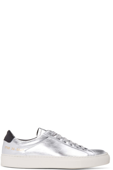 Woman by Common Projects - Silver & Black Achilles Retro Low Sneakers