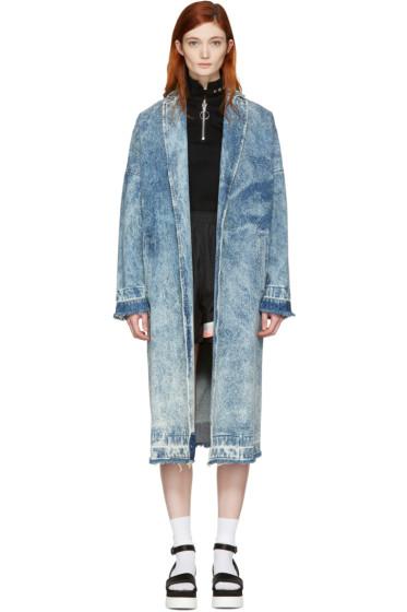 MSGM - Blue Marbled Denim Coat