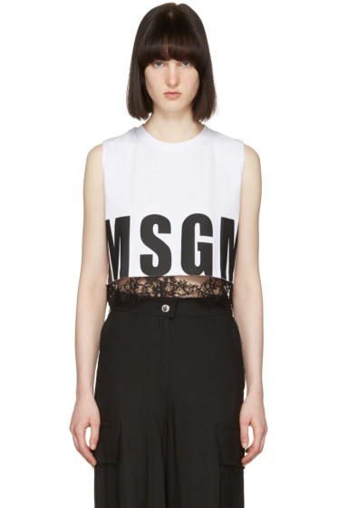 MSGM - White Cropped Muscle T-Shirt
