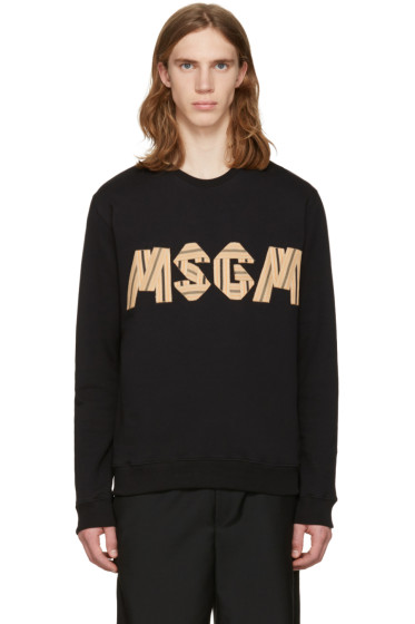 MSGM - ブラック パッチワーク ロゴ プルオーバー