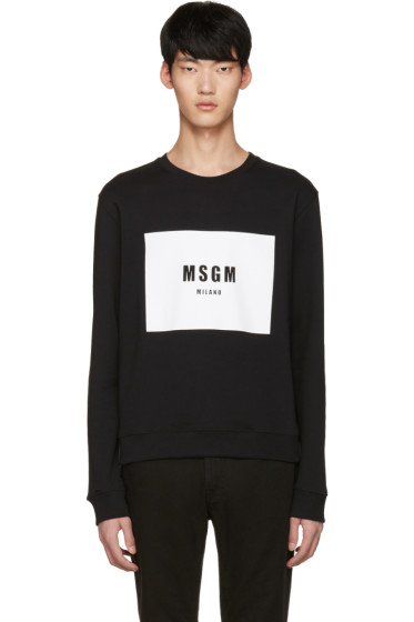 MSGM - ブラック ロゴ プルオーバー