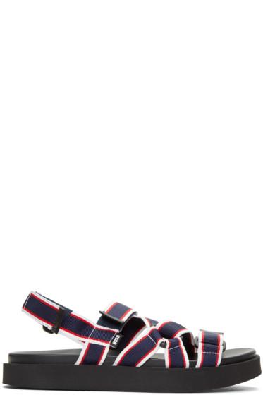 MSGM - トリコロール マルチ ストラップ ラップ サンダル