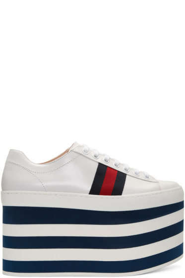Gucci - White Peggy High Platform Sneakers