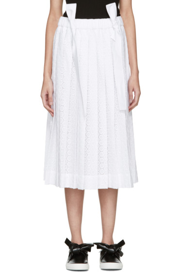 Cédric Charlier - White Pleated Lace Skirt