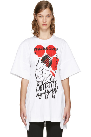 Stella McCartney - White 'Thanks Girls' Lindsey T-Shirt