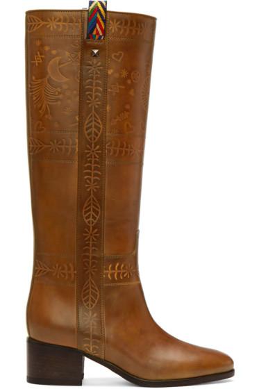 Valentino - Brown Santeria Embossed Boots