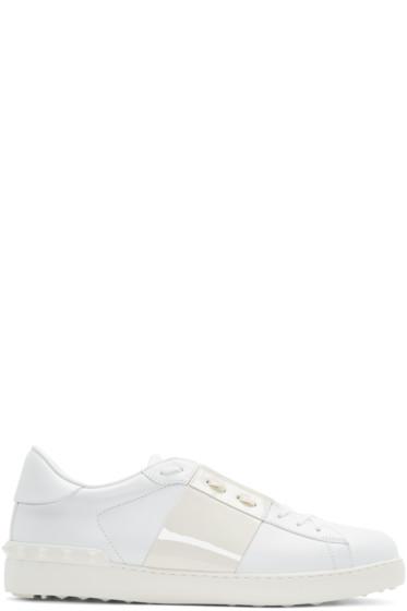 Valentino - White Patent Stripe Open Sneakers