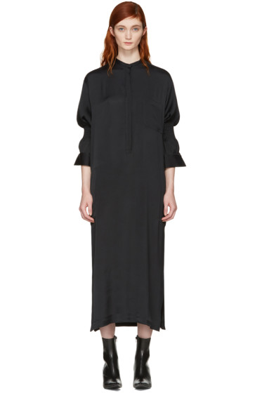 Haider Ackermann - Black Smocked Shirt Dress